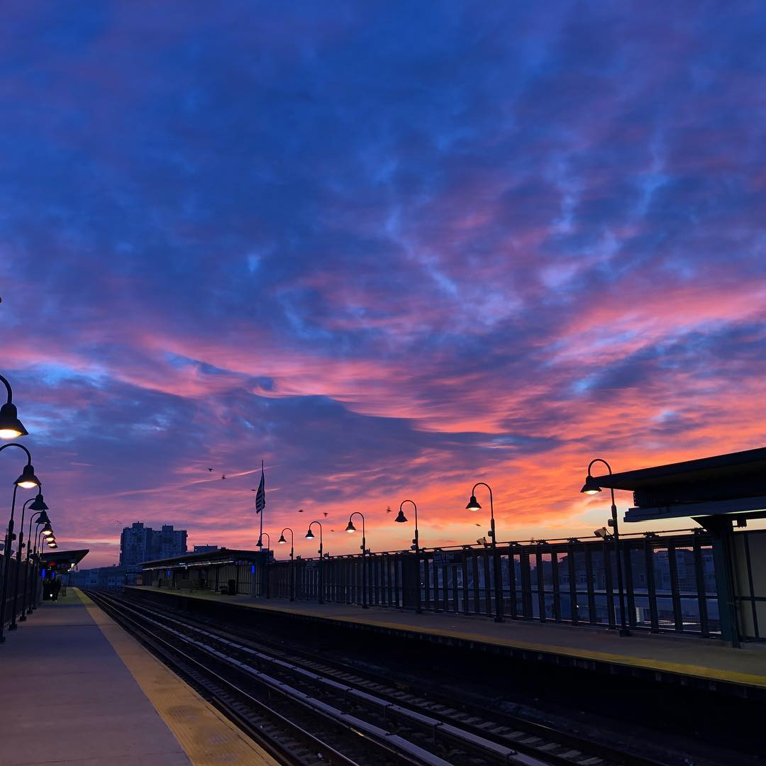 View From The Outdoor Subway Station During Winter Rockaway Beach Queens therockawaysny