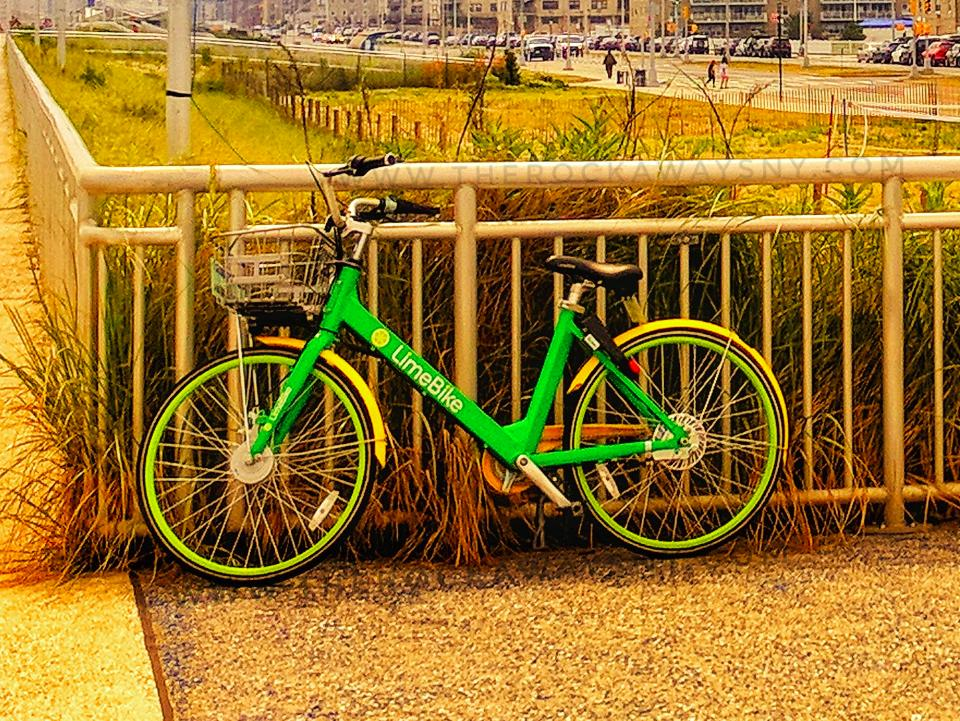 Rockaway Beach Dockless Bike Sharing Is Here Lime Bike On Boardwalk Queens NYC therockawaysny