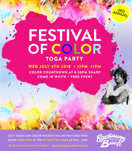 Festival Of Color Toga Party 3rd Annual Rockaway Beach Surf Club Queens NYC therockawaysny