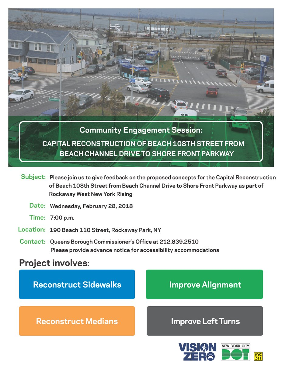 Beach 108 Capital Reconstruction Community Engagement Session February 28 Rockaway Beach Queens therockawaysny