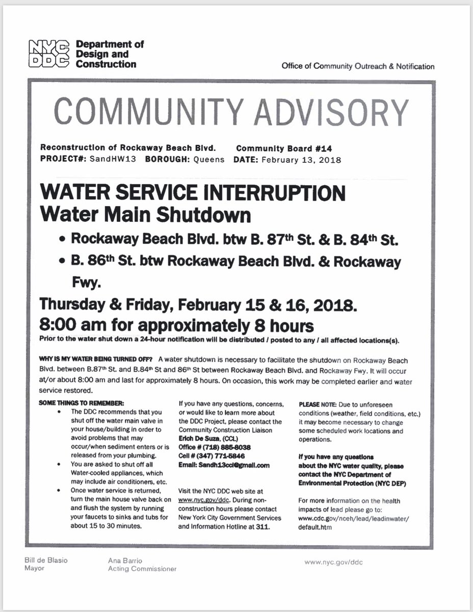 Water Service Interruption February 15 And February 16 Rockaway Beach Queens therockawaysny